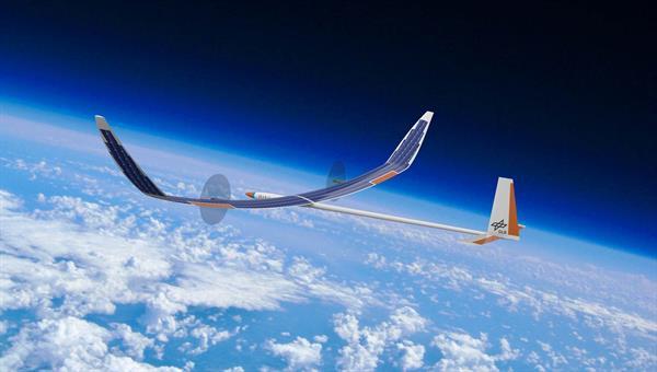 Impression eines hochfliegenden Solarflugzeugs