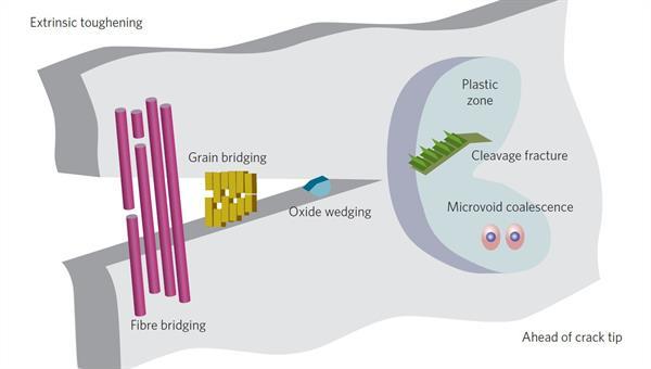 Intrinsische Schadenmechanismen vor der Rissspitze werden ausgeglichen durch extrinsische Rissspitzenabschirmmechanismen