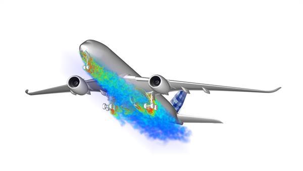 Skalienauflösende Strömungssimulation für ein Verkehrsflugzeug (Quelle: Airbus)