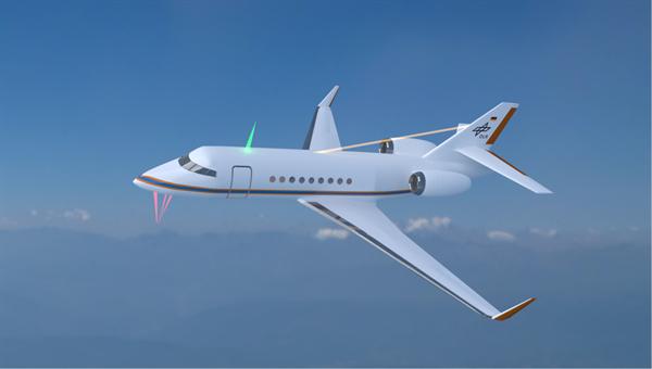 Künstlerische Darstellung von optischen Air Data Systemen an einem Flugzeug