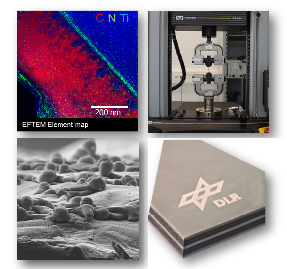 Transmissionselektronenmikroskopie, Universalprüfmaschine, Rasterelektronenmikroskopie, Faser%2dMetall%2dLaminat (von l.o. nach r.u)