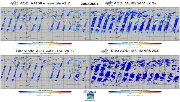 4 Tagesaufnahmen der globalen AOD%2dVerteilung (verschiedene Sensoren / Algorithmen mit unterschiedlicher Abdeckung und Aerosolvariablen), die konsistent integriert werden sollen.