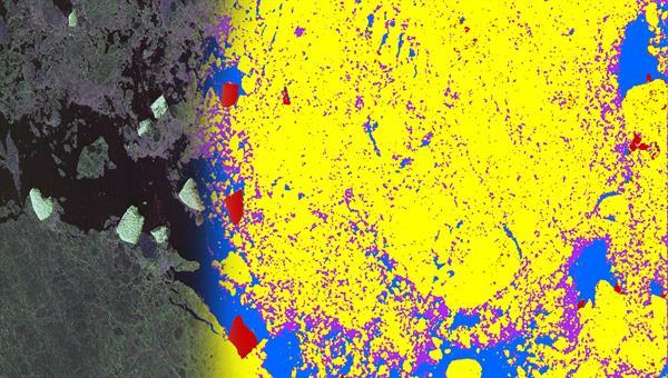 Hochaufgelöste polarimetrische Synthetic Aperture Radar Aufnahme und daraus gewonnene Meereistypen
