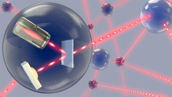 Künstlerische Darstellung eines zukünftigen Quantennetzwerks. Einzelne Photonen übertragen Quanteninformation zwischen den einzelnen Speicherknoten. Copyright: Janik Wolters
