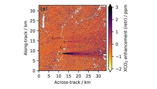 Erhöhung im XCO2 über dem natürlichen Hintergrund, simuliert aus synthetischen Messungen in der Region Indianapolis