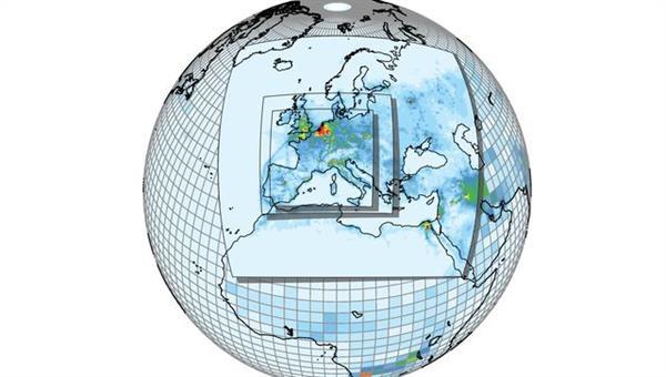 Darstellung der Gittermaschenweite eines globalen Klima%2dChemie Modell (EMAC) mit der Möglichkeit bestimmte Bereiche regional besser aufzulösen (MECO(n)).