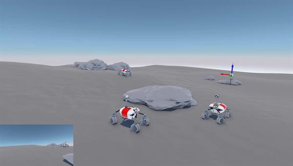 Simulation von drei RMC LRU Rovern in einer gemeinsamen Simulationsumgebung zur Generierung von Kameradaten