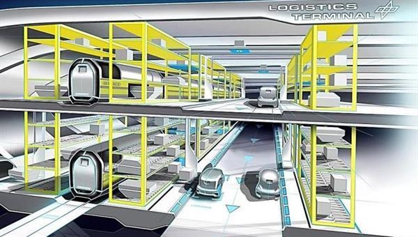 Entwurfsskizze eines automatisierten Logistik%2dTerminals