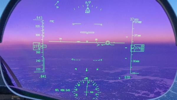 Head%2dUp Display in einem modernen Airliner