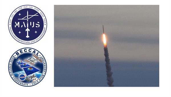 MAIUS und BECCAL Missionsabzeichen und eine Höhenforschungsrakete
