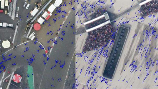 Visualizations of person movement tracking in crowded scenes