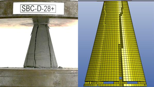 Crack formation of concrete cone under compression in experiment (left) and simulation (right)