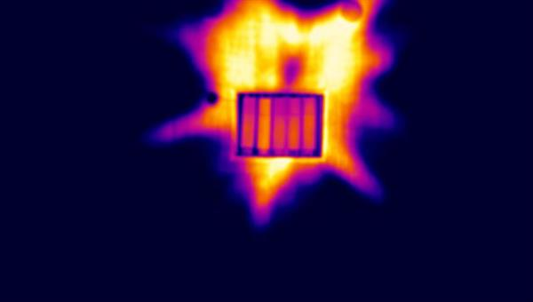Infrared picture of a receiver panel section mounted at a dish solar furnace (CIEMAT, Plataforma Solar de Almeria)