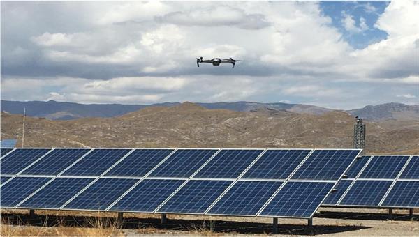 Drone over PV panels at CIEMATs Plataforma Solar de Almería