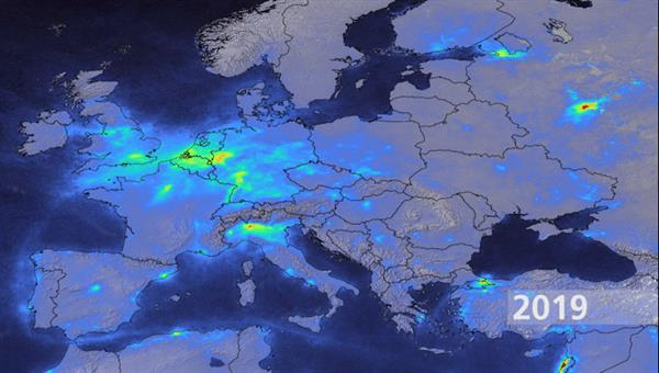 Nitrogen dioxide emissions over Europe as average for March/April 2019 derived from Copernicus Sentinel%2d5 Precursor observations.