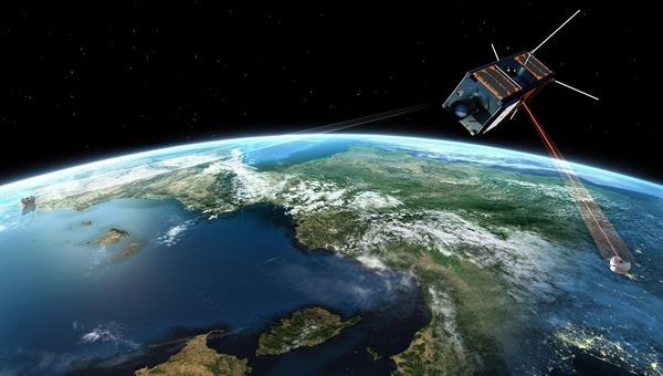 Cube Satellit mit Laserterminal