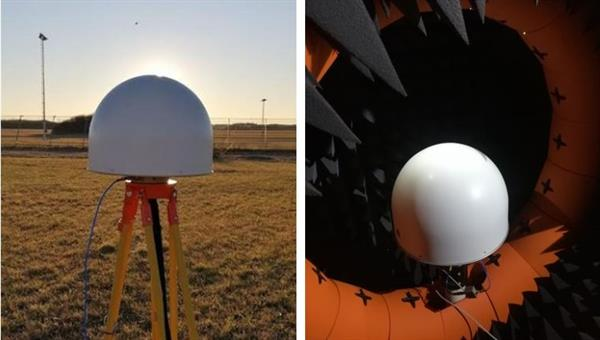 High%2dperformance GNSS antennas during GNSS field characterization (left) and electromagnetic characterization in the anechoic chamber (right)