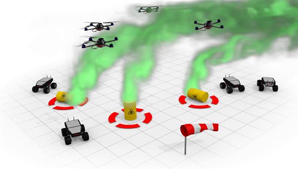 Erkundung von Gasquellen mit einem Roboterschwarm