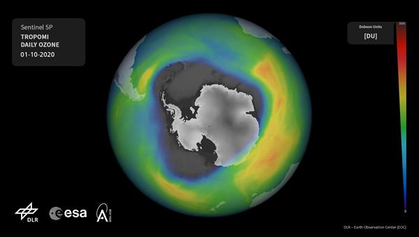 Antarctic ozone hole on 1 Oct 2020 as derived from Copernicus Sentinel%2d5 Precursor observations