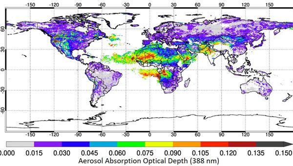 North%2dhemispheric summer season 2018 (JJA) aerosol optical depth map (at 388 nm wavelength) from TROPOMI observations on the Copernicus Sentinel%2d5 Precursor mission.  Copyright: TROPOMI Daten/ESA