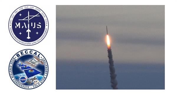MAIUS und BECCAL mission badges and a sounding rocket