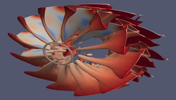 An isosurface of a propfan computed on a traditional cluster and visualized with ParaView
