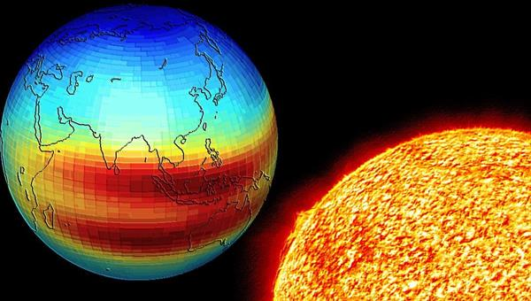 Illustration of the conditions of the Earth' ionosphere impacted by solar activity (Source: DLR/ NASA)