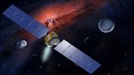 Die Raumsonde Dawn vor dem Hintergrund des solaren Urnebels