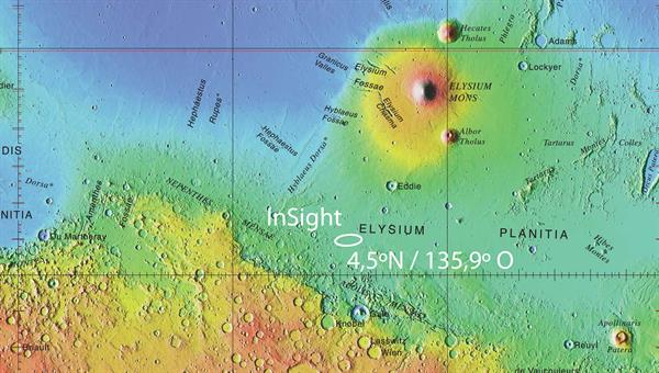 Die Landestelle von InSight in der Elysium%2dEbene