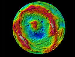 South pole centred colour coded digital terrain model of the 'basin' (Source: NASA/JPL%2dCaltech/UCLA/MPS/DLR/IDA.)
