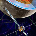 Artist's impression of the JUICE space probe together with Jupiter and its four Galilean moons