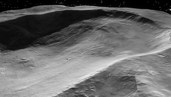 Landslides in Marcia crater. Marcia is a 58%2dkilometre diameter crater near Vesta's equator. The topography of the crater is a bit unusual, as it does not have the typical bowl shape, like that of a crater on the Moon. This is likely the result of mass movements in the interior of the crater. Material from Marcia's right edge slid to its interior, forming a shallower slope. The image shows details up to a size of 70 metres. Credits: NASA/JPL%2dCaltech/UCLA/MPS/DLR/IDA.