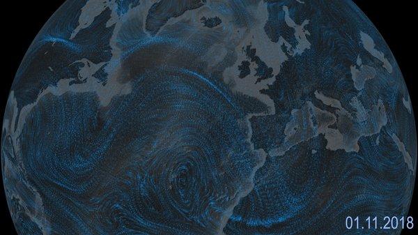 Strömung über Europa in etwa 10 km Höhe auf Basis von Winddaten des ECMWF