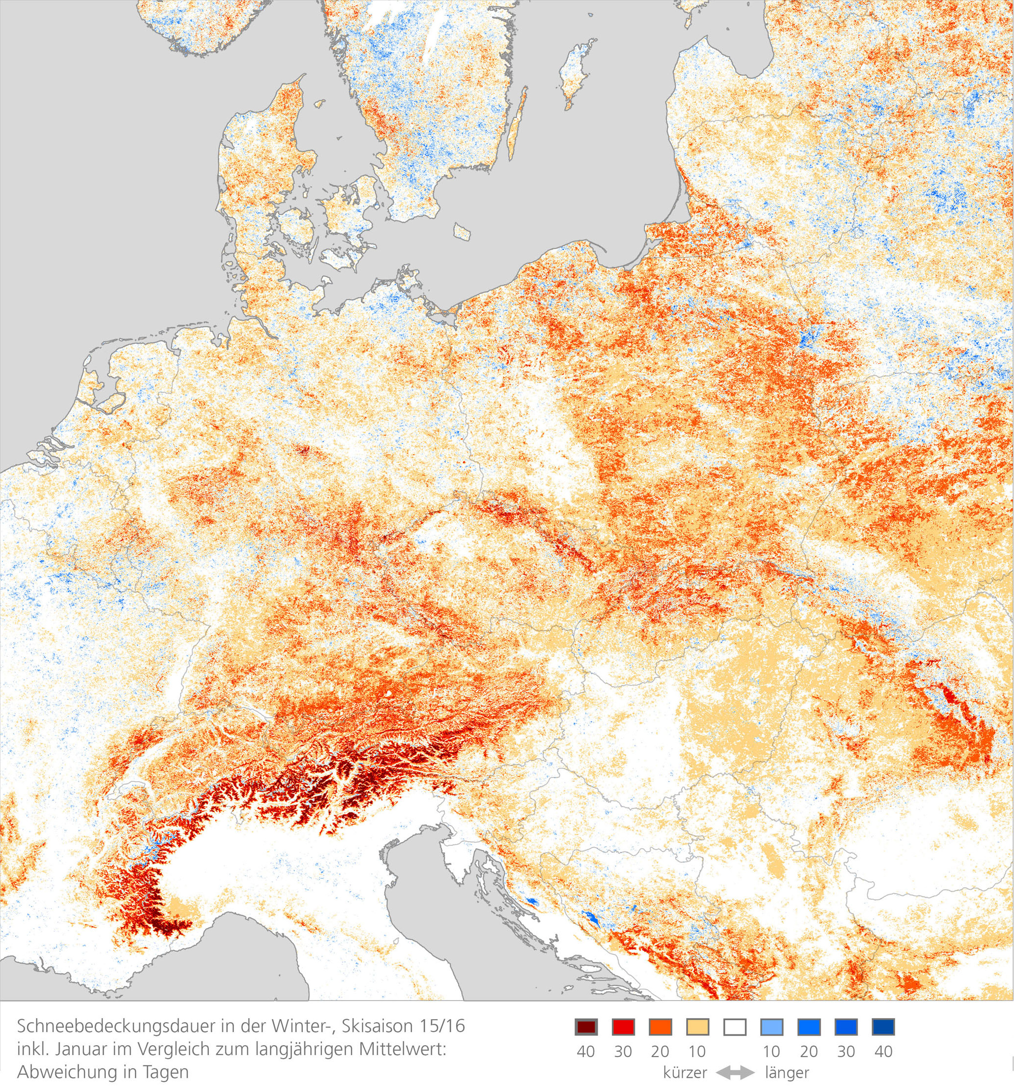 Snow Cover Map Europe.Dlr Earth Observation Center Winter Without Snow Dlr Analyses