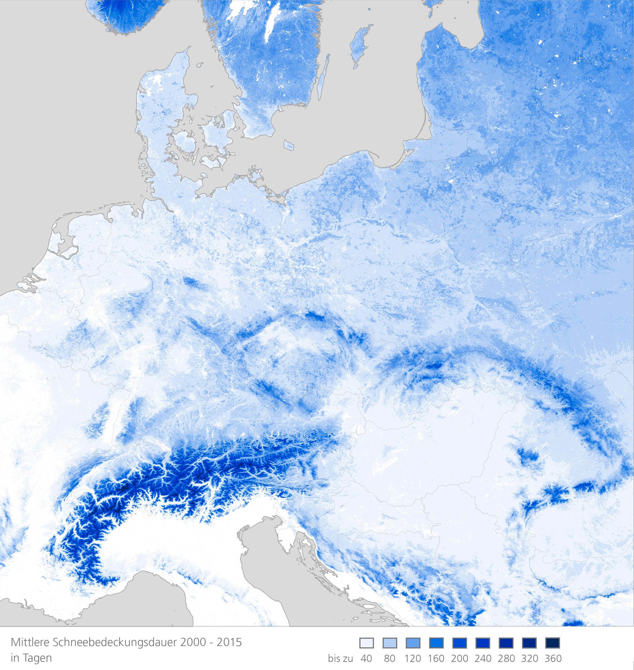 Mean Snow Cover Duration In Central Europe