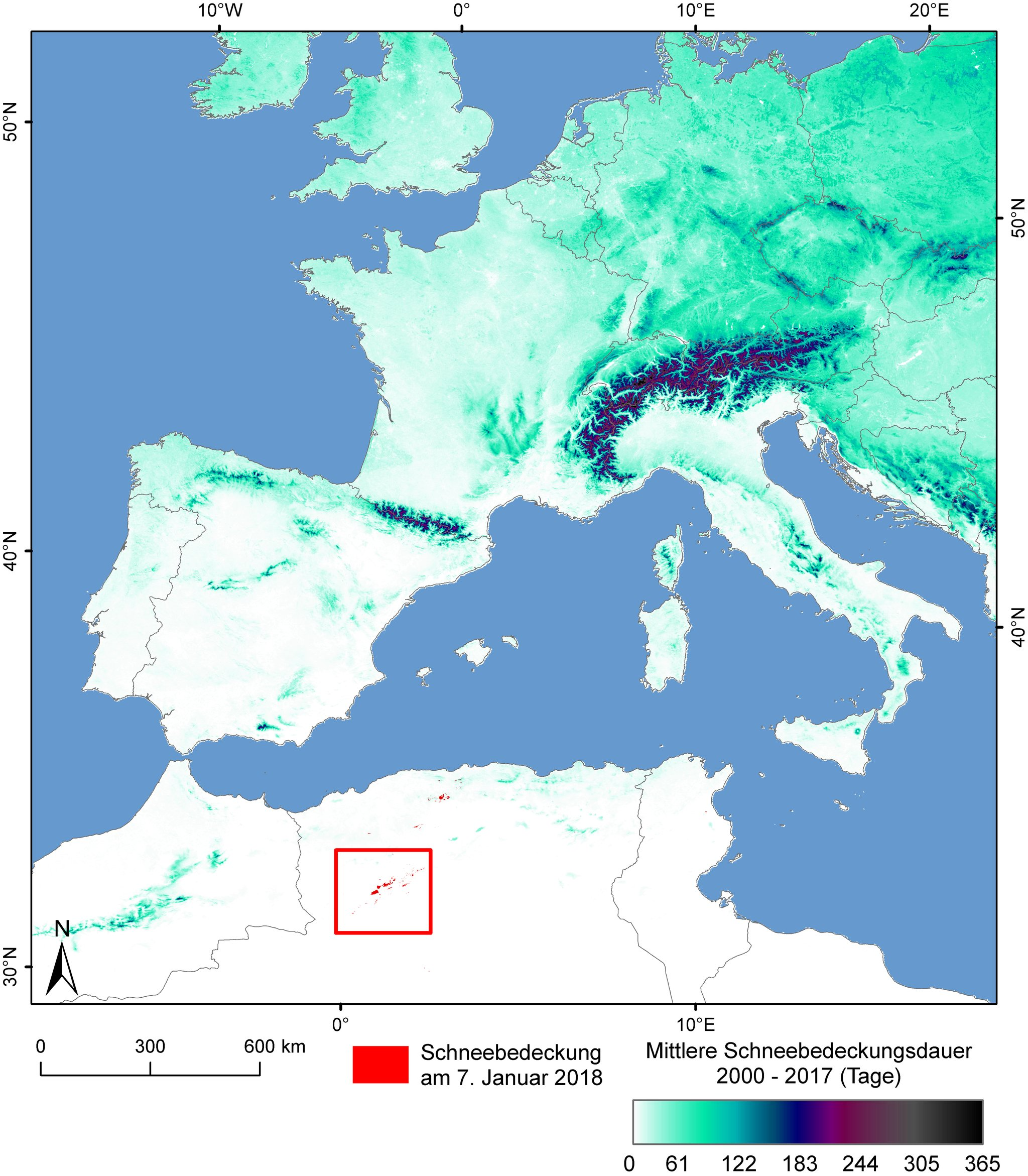 Snow Map Europe.Dlr Earth Observation Center Snow In The Sahara
