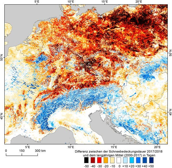 Map Of Germany 2000.Dlr Earth Observation Center Snow Cover In Germany In Winter