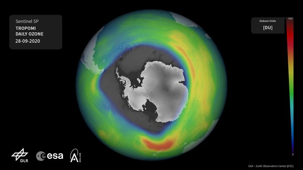 Ozone hole over 20 million square kilometers in size