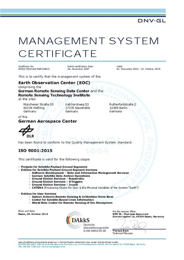 DLR - Earth Observation Center - ISO 9001 Certification