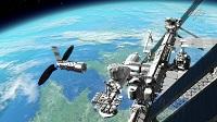 """Der Free Flyer als erstes Element des """"Orbital Hub"""" Szenarios dockt während seiner ersten Mission an die existierende ISS an."""