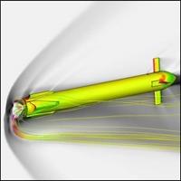Beispiel einer CFD%2dBerechnung zur Bewertung des Massenstroms um das Fahrzeug, während des Retropropulsions%2dBoosts