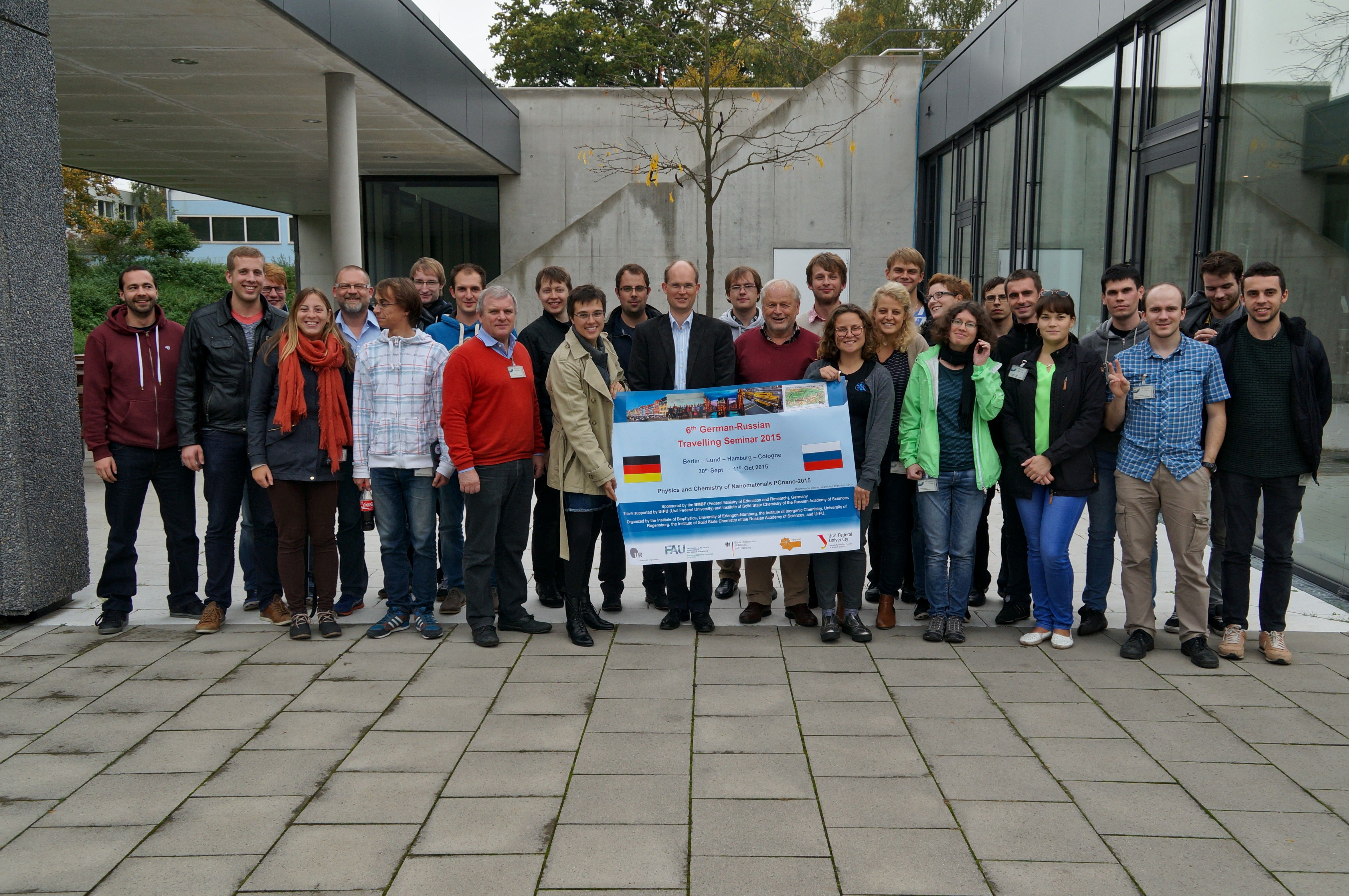 Participants of the 6th German-Russian Travelling Seminars together with the organizer of the Russian Academy of Sciences, the Universities Regensburg and Erlangen-Nürnberg as well as the Vice Director of the Institute of Materials Physics in Space.