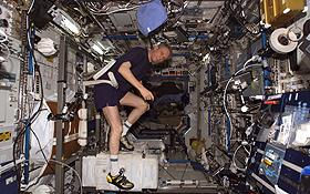 Thomas Reiter trainiert auf dem Fahrrad-Ergometer im Destiny Labormodul der ISS. Bild: NASA.