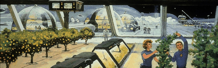 Diese künstlerische Darstellung zeigt, wie man sich ein Treibhaus auf dem Mond irgendwann einmal vorgestellt hat. Bild: NASA