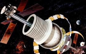 Eine riesige Raumstation, die sich um sich selbst dreht und so Schwerkraft erzeugt. Diese futuristische Zeichnung stammt aus den Archiven der NASA. Bild: NASA