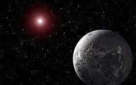 Diese Zeichnung – es handelt sich also nicht um ein Foto – zeigt einen der wenigen Gesteinplaneten (er wird OGLE-2005-BLG-390Lb genannt), die man bisher entdeckt hat. Er ist aber wohl so weit von seiner sehr kleinen Sonne entfernt, dass es dort minus 200 Grad kalt sein dürfte. Bild: NASA, ESA, STScI