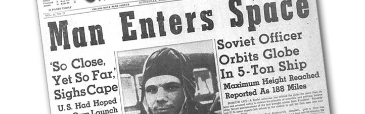 Gagarins Flug machte weltweit Schlagzeilen. Hier eine amerikanische Zeitung. Bild: NASA