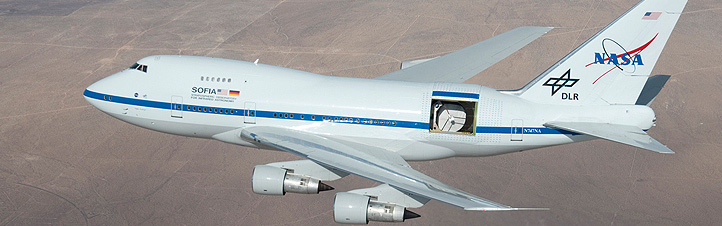 Der Jumbo-Jet mit dem fliegenden Teleskop im Einsatz. Bild: NASA (C. Thomas)