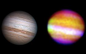 Links sieht man den Planeten Jupiter, wie er durch ein Fernrohr für das menschliche Auge erscheint. Rechts das Wärmebild von Jupiter, das SOFIA aufgenommen hat. Die Farben geben den Wissenschaftlern Aufschluss über die Temperaturen. Bild links: Anthony Wesley. Bild rechts: NASA, DLR, Cornell University