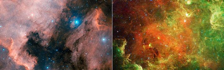 """Den gewaltigen Unterschied von """"normalen"""" Aufnahmen und Infrarot-Bildern erkennt man hier: Beide Fotos zeigen den Nordamerika-Nebel – eine riesige """"Wolke"""" aus kosmischem Staub und Gas. Links sieht man ihn, wie er durch ein optisches Teleskop erscheint – quasi mit menschlichen Augen. Das Infrarot-Bild rechts zeigt Strukturen und Sterne, die uns sonst verborgen bleiben würden. Bilder: NASA"""